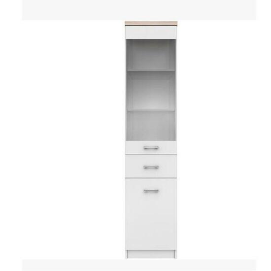 Polcos szekrény 1w1d1s,DTD laminált, fehér + sonoma tölgyfa,    TOPTY