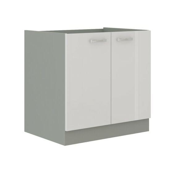 Alsó mosogató szekrény, fehér magas fényű fehér, PRADO 80 ZL 2F    BB