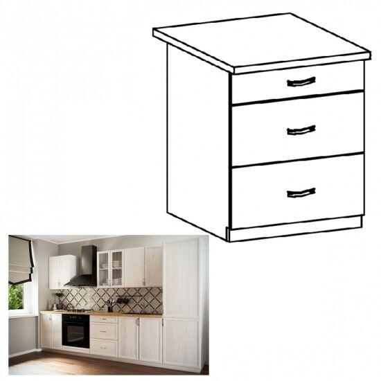 SICILIA D60S3 alsó konyha szekrény három fiókkal