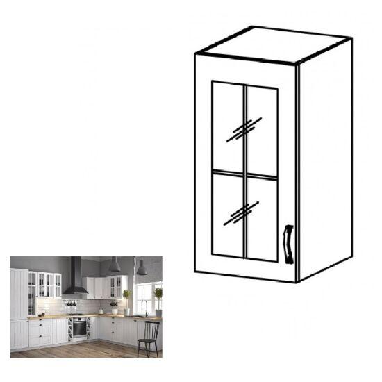 PROVANCE G30S konyhai ballos felső szekrény polccal és üveges ajtóval,     fenyő ANDERSEN/fehér