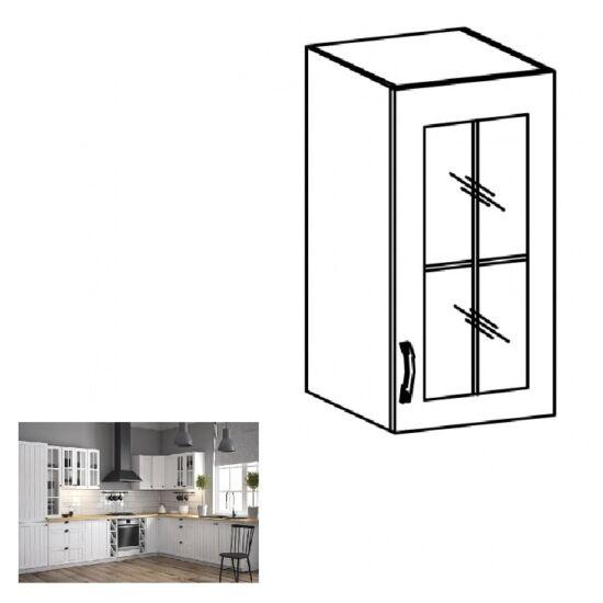 PROVANCE G40S konyhai jobbos felső szekrény üveges ajtóval, fenyő     ANDERSEN/fehér