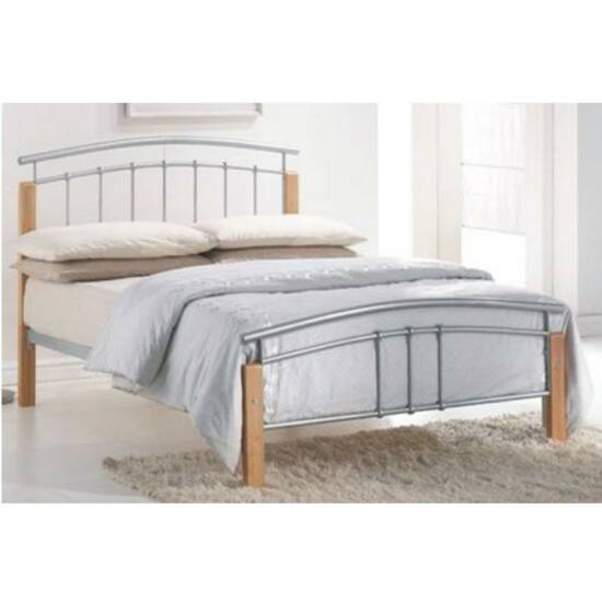 Fém ágy lécezett ráccsal, fém (ezüst) + égerfa, 160x200, MIRELA